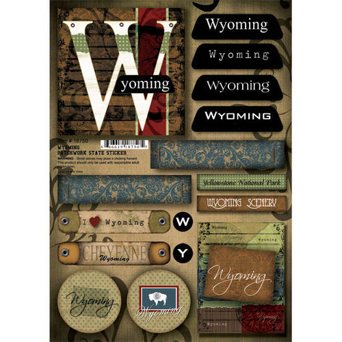 Scrapbook Customs United States Collection Wyoming Cardstock Stickers Patchwork