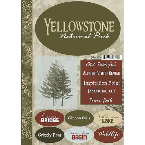 Scrapbook Customs USA Wyoming National Park Cardstock Stickers Yellowstone