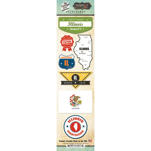Scrapbook Customs - Vintage Label Collection - Cardstock Stickers - Illinois Vintage