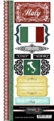 Scrapbook Customs - World Collection - Italy - Cardstock Stickers - Explore