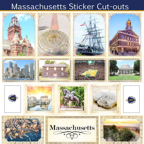 Scrapbook Customs - State Sightseeing Collection - 12 x 12 Sticker Cut Outs - Massachusetts