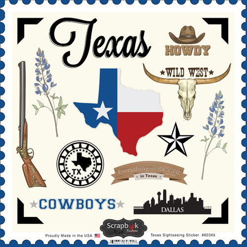 Scrapbook Customs - State Sightseeing Collection - 12 x 12 Cardstock Stickers - Texas