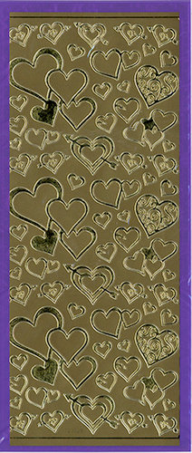 Sticker King - Cardstock Stickers - Hearts in Gold