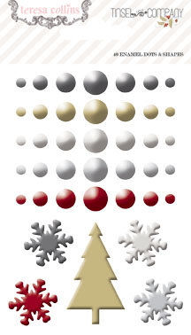 Teresa Collins Designs - Tinsel and Company Collection - Christmas - Enamel Dots and Shapes