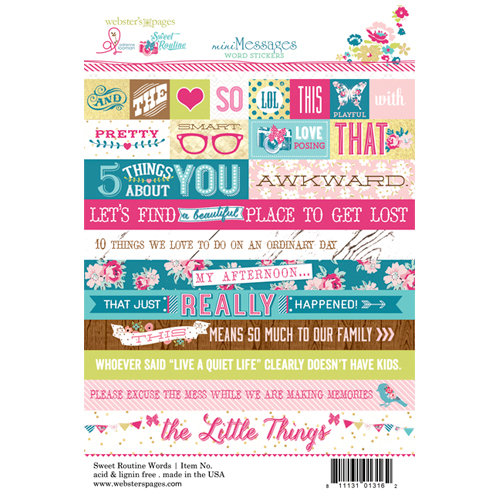 Websters Pages - Sweet Routine Collection - Cardstock Stickers - Mini Messages - Words
