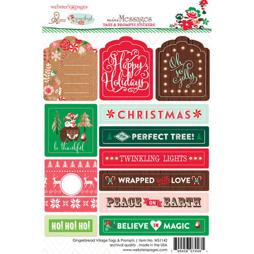 Websters Pages - Gingerbread Village Collection - Christmas - Cardstock Stickers - Tag and Prompt